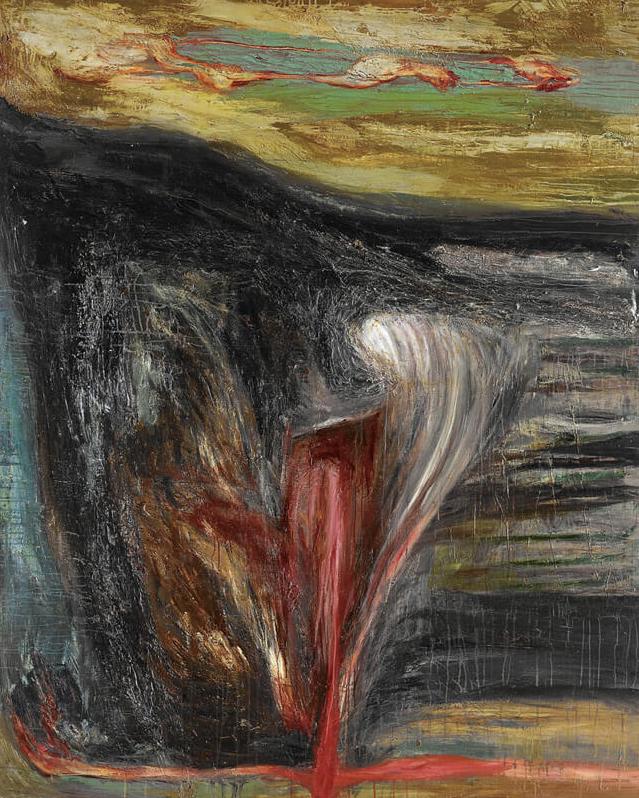 〈無題〉, 1989, 壓克力顏料、混合媒材、畫布, 213×173cm