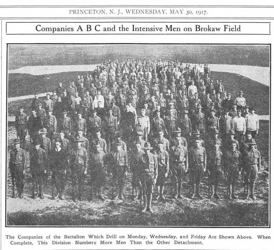 F. Scott Fitzgerald's Battalion, from the May 30, 1917 issue of the Daily Princetonian. Uniforms were custom-made for the soldiers by Brooks Brothers.