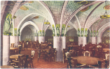 Postcard view of the Seelbach's Rathskeller, the basement level restaurant and bar.