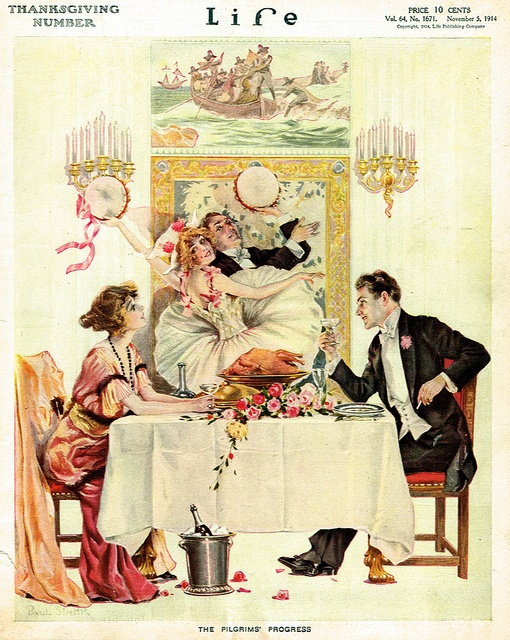 """The Pilgrims' Progress"", Life Magazine's Thanksgiving cover 1914."