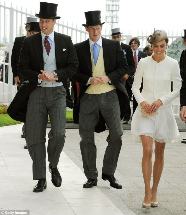 Prince William, Prince Harry, and Duchess Kate at the 2011 Epsom Derby. via Getty Images. I was really just looking for an excuse to post this photo of Harry, obvs.