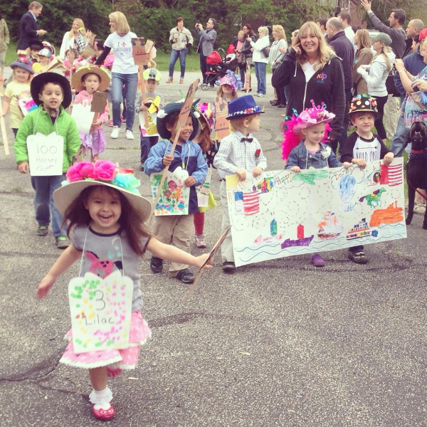 Eloise and her classmates at a preschool parade