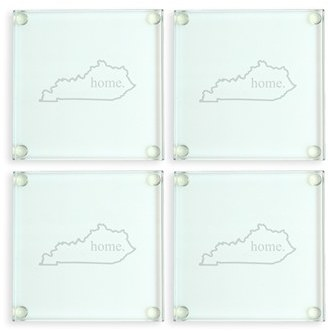 Etched-glass Kentucky coasters