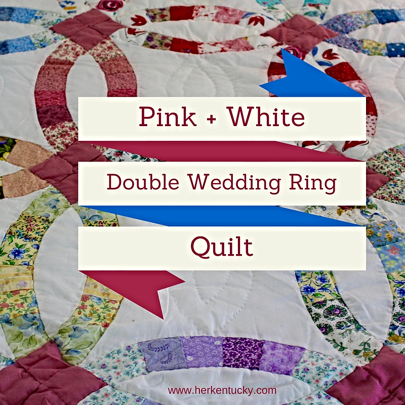 Pink and White Double Wedding Ring Quilt HerKentucky by Heather C