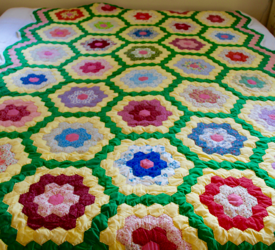 Yellow + Green Grandmother's Flower Garden Quilt | HerKentucky.com