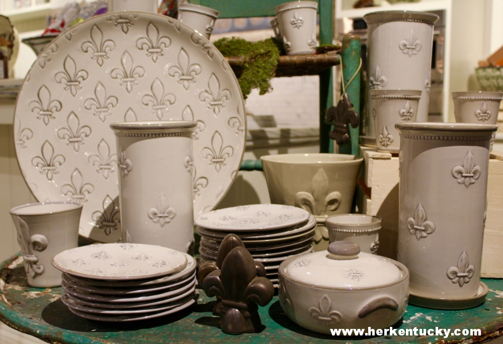 Fleur de lis pottery at Louisville Stoneware. Stoneware is located in the historically French Paristown Pointe district.