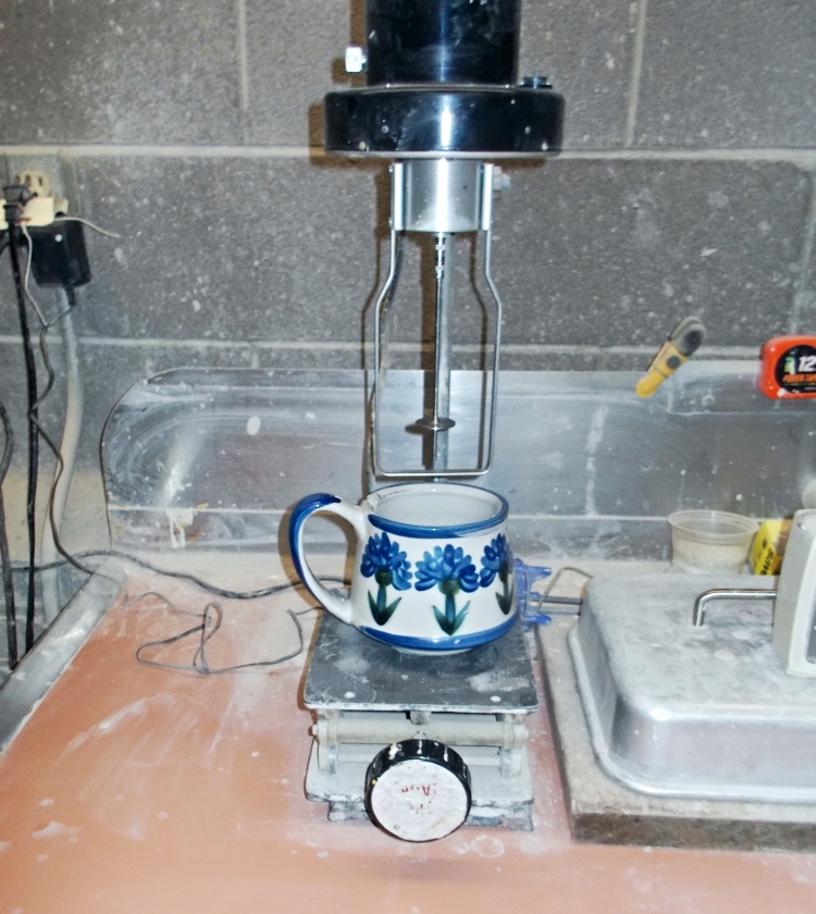 A Bachelor Button mug in production, Louisville Stoneware.