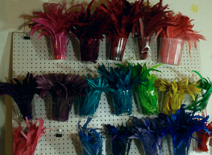 A wall of feathers at the Hat Girls' studio.