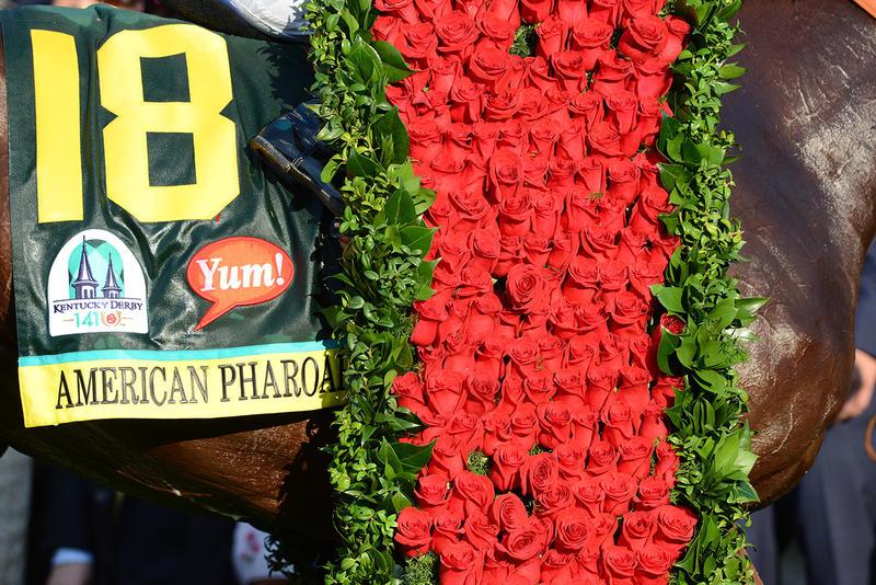 American Pharoah's Garland of Roses. Image via Kentucky Derby.