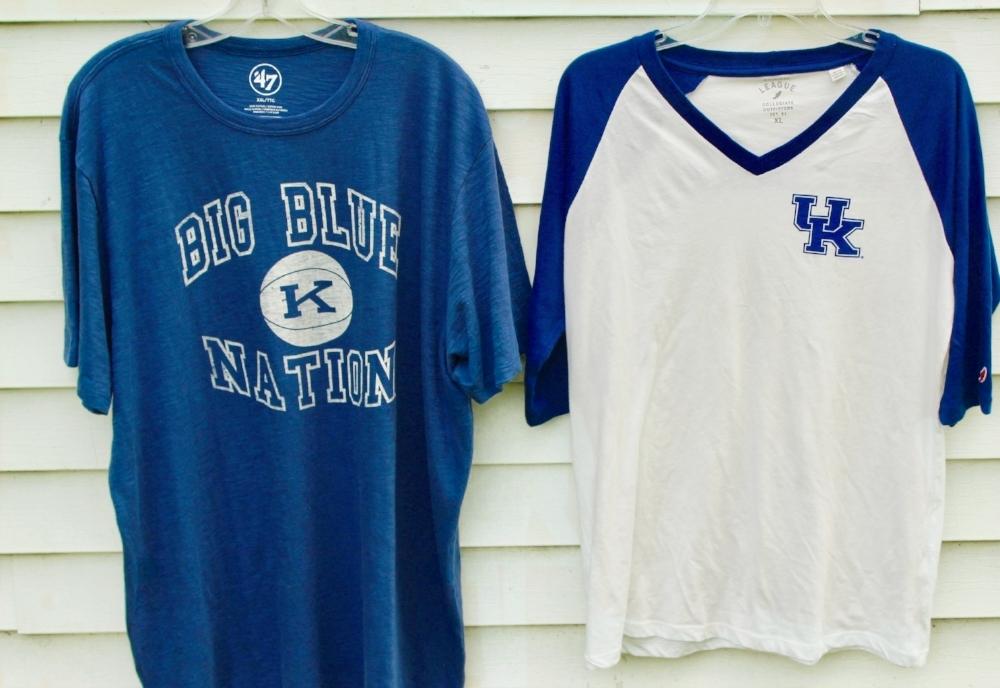 Kentucky 47 Big Blue Nation Tee  | Kentucky League Women's Camp V-Neck Baseball Tee (c/o Alumni Hall)