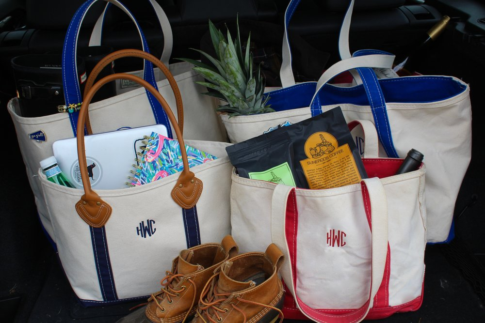LL Bean Open-Top Boat and Tote Bag  |  LL Bean Zip-Top Boat and Tote Bags  |  LL Bean Leather Handle Boat and Tote Bag  |  LL Bean Boots  |  Hunter Tall Gloss Boots  |  Draper James Go Y'all Pin  |   Lilly Pulitzer Large Agenda