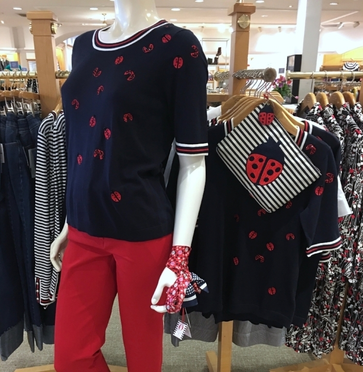 Ladybug Sweater ,  scarf , and  clutch.