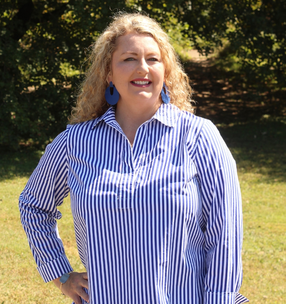 Blue and White Stripe Popover