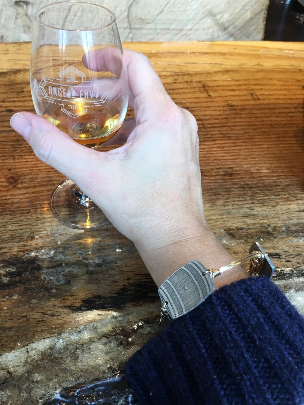 Bourbon & Boweties  Bourbon Barrel Bangle available exclusively at Sweet Mash Goods .