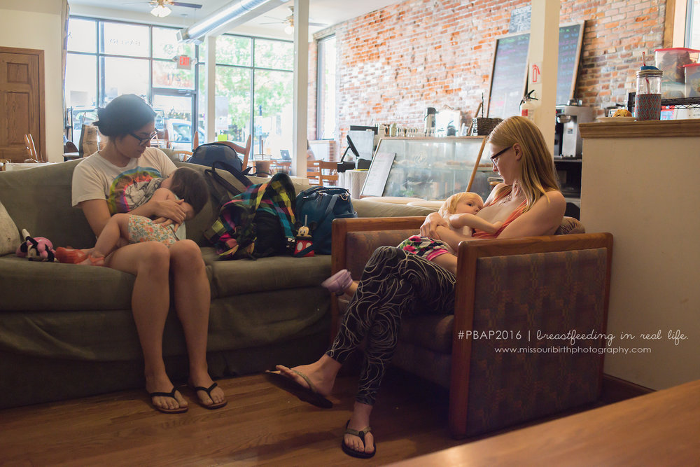"""We were lucky enough to meet each other and several other awesome breastfeeding mom friends during a babywearing get together. We started having moms-and-babies coffee dates, which kept us sane. Being able to nurse comfortably in a public setting was crucial to being able to spend time with friends and escape our houses. The company of other breastfeeding moms also meant we always had someone to turn to if we had nursing questions or frustrations, and we encouraged each other. Nursing in a group gave us all more confidence in nursing in public and nursing longer.""   - Emily and Vanessa"