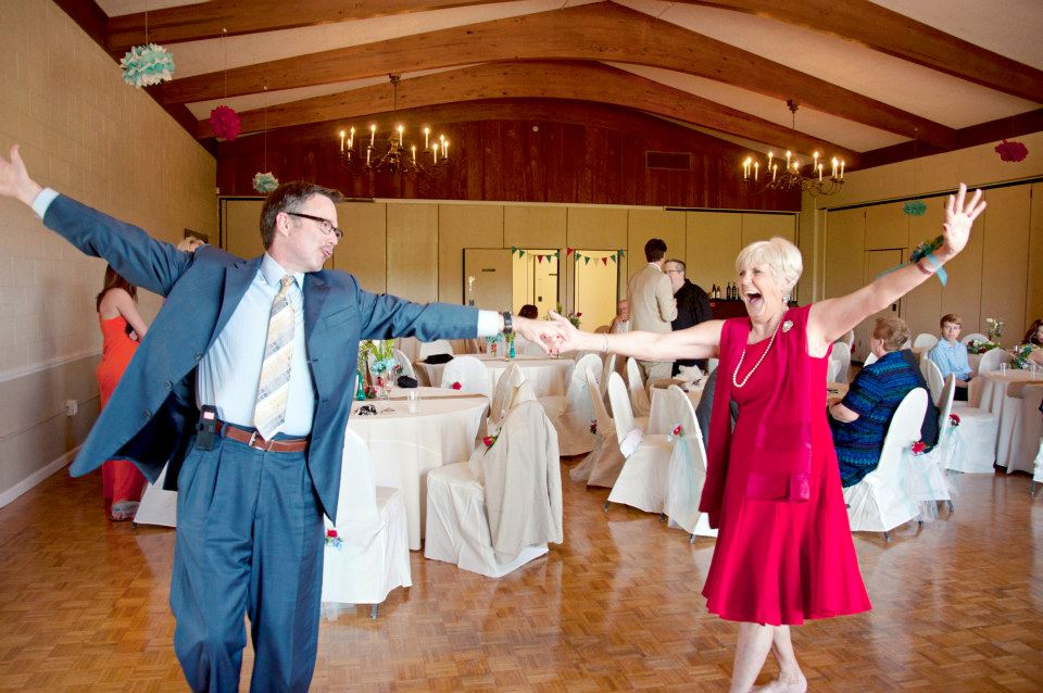 Stephen showing off his dancing skills with the mother of the bride.