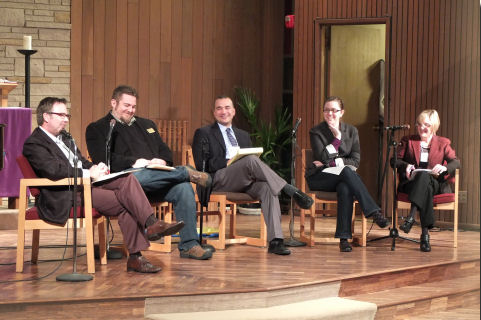 "Stephen (left) participated in a panel discussion on ""Current Trends in Church Music"" at First Lutheran Church of Richmond Beach, an AGO (Seattle) event"