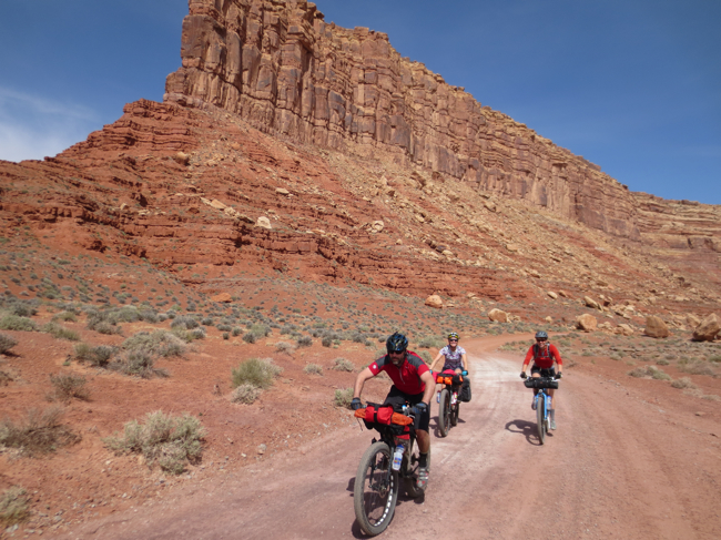 Riding around the bottom of Muley Point.