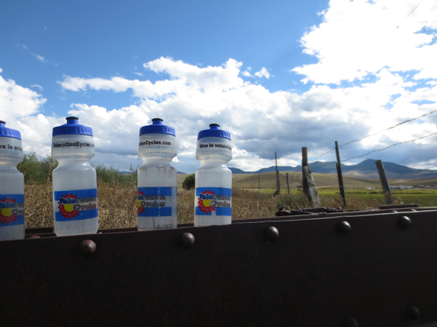 Water bottles, filled and ready to go - Tomichi Creek near Hwy 50.  I wonder what MSR would say about their water filter's ability to reduce agricultural chemical runoff in drinking water... on second thought, I probably don't want to know.