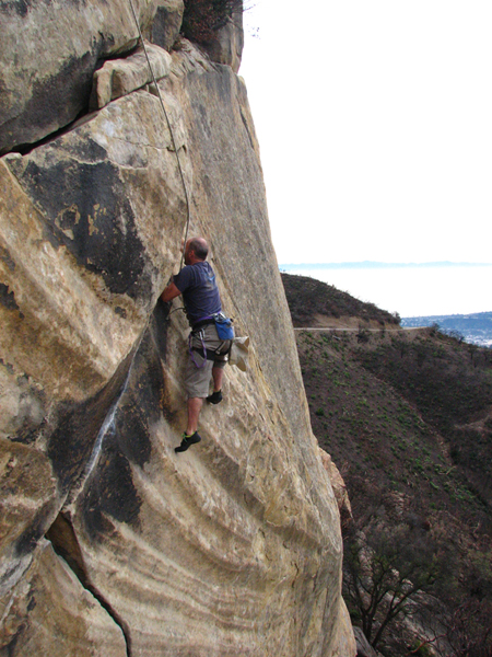 Family friend Greg gets aggro on T-Crack at Gibraltar Rock.