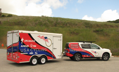 The USA Cycling team rig.  The country feels really big when you're towing that trailer across it...
