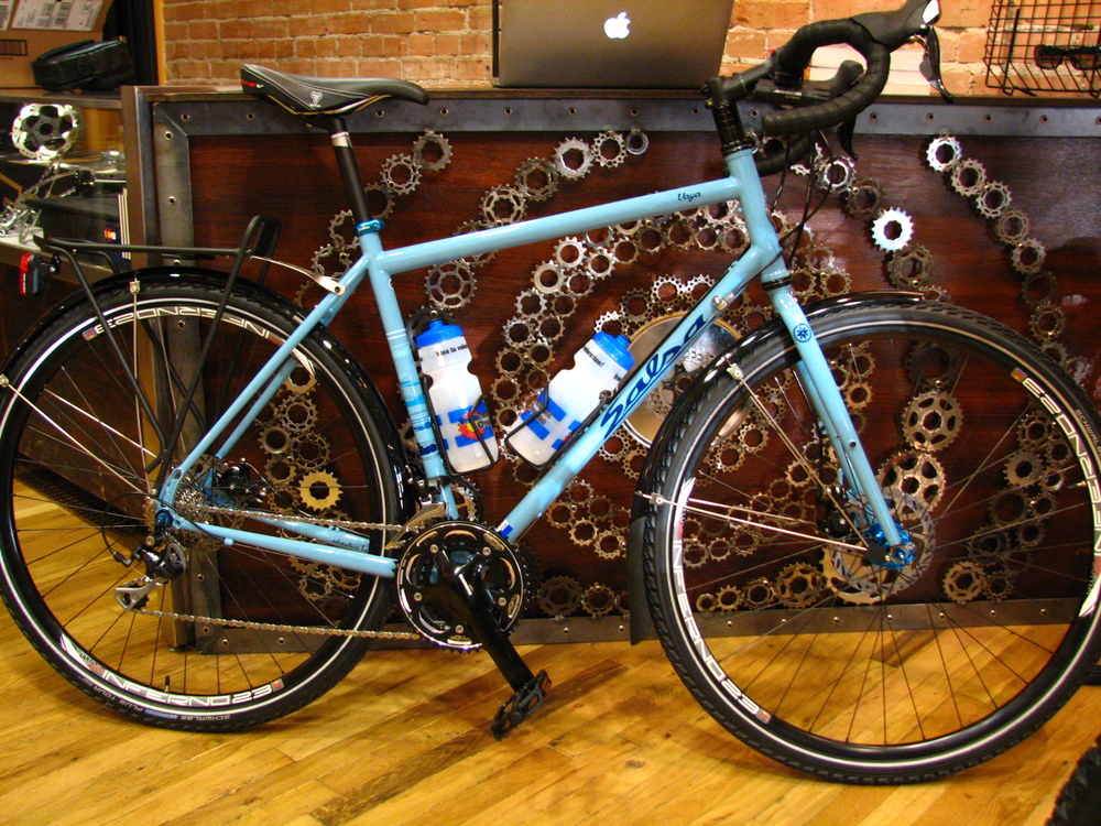 Patrick's new Vaya touring bike, set up as the ultimate commuter with Arkel panniers, USB-rechargeable lights, and fenders.  Wicked!