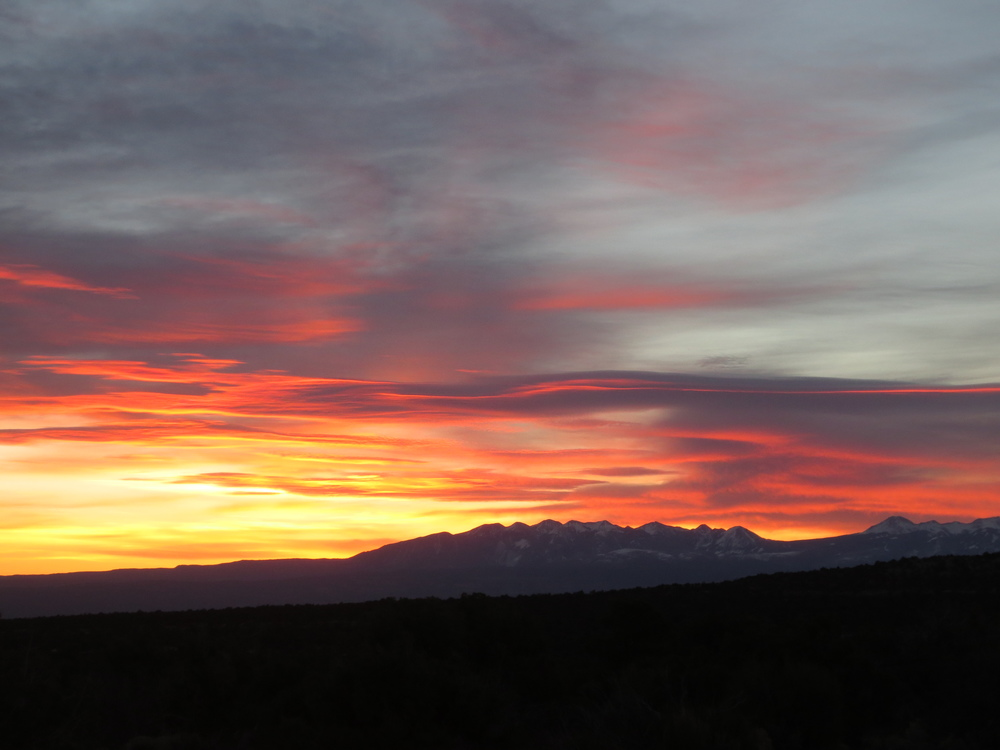 Sunrise the next day, over the La Sals