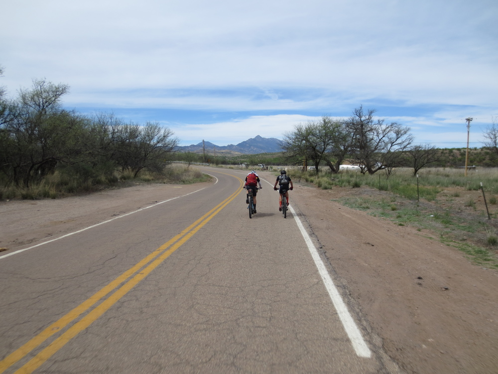 In just over four hours, I was spinning pavement into Patagonia with a few other riders, including Salsa's Jay Petervary.  Jay and I rode together up to Sonoita, 12 pavement miles away, and took a lunch break there.