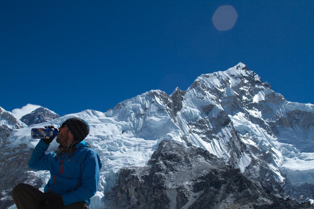 Longtime Velorutionary Steve rocking the VC sticker on the Khombu Glacier, Nepal.
