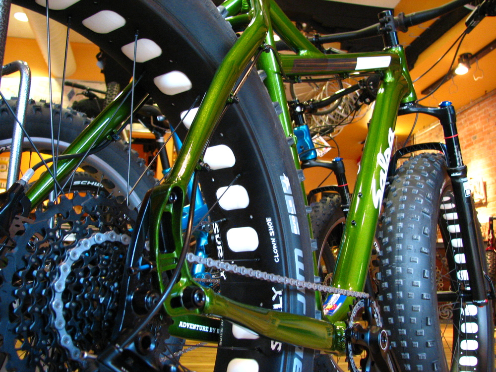 "Salsa's Blackborow GX1, lookin' sassy.  This 1x11, Bluto-equipped, 4.8""-tire bike is a more trail- and packed-snow-oriented version of the Blackborow platform."