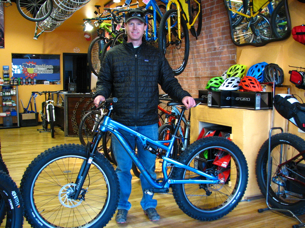 Salsa's Bucksaw is the first-ever production full-suspension fatbike.  We stock this bike year-round.  It kicks booty on trails of all stripes and is no slouch in the snow.  Just ask Dan - he loves his!