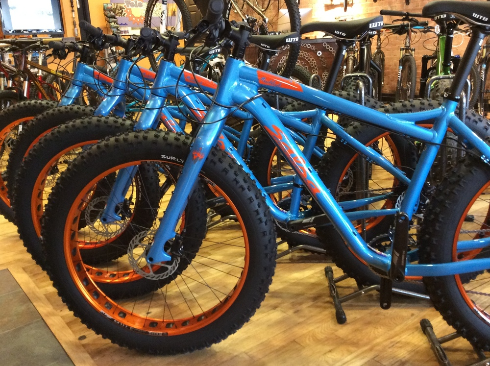 Go Broncos!  These beauties are our brand-new rental fatbikes, now available!