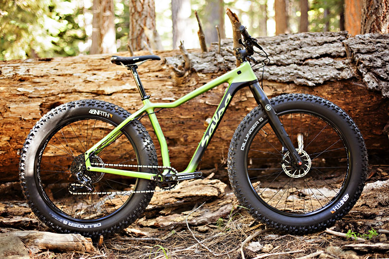 "The 2017 Mukluk goes bigger, and lighter as well - a wider frame allows for 5"" tires, and the new carbon frame keeps things light and stiff."