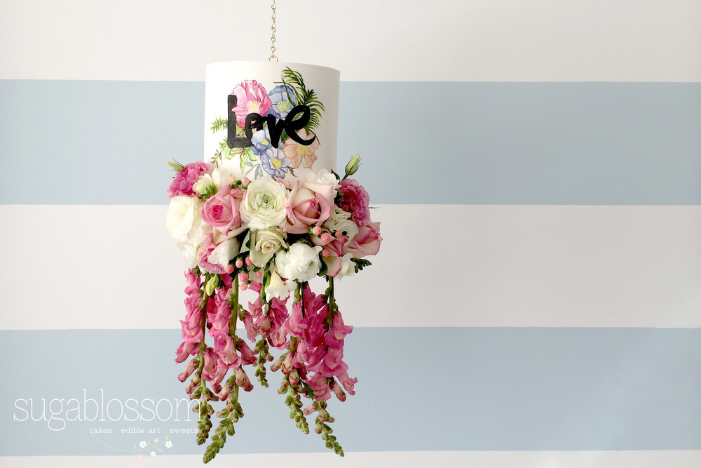 Hanging Cake with fresh flowers
