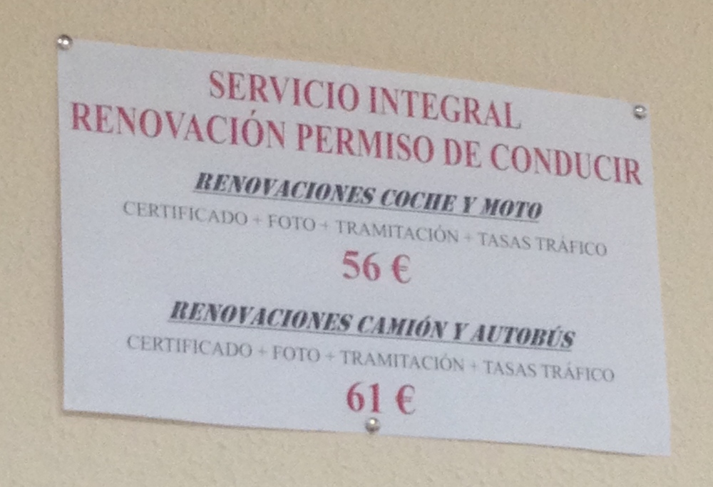 Translation: Whole service: Renew your driver's permit (car, motorcycle, truck, and bus).