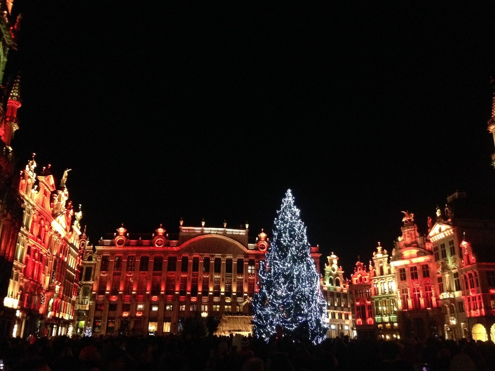 Grand Place completely transformed at nighttime. The only word I can think of to describe this light show is magical.