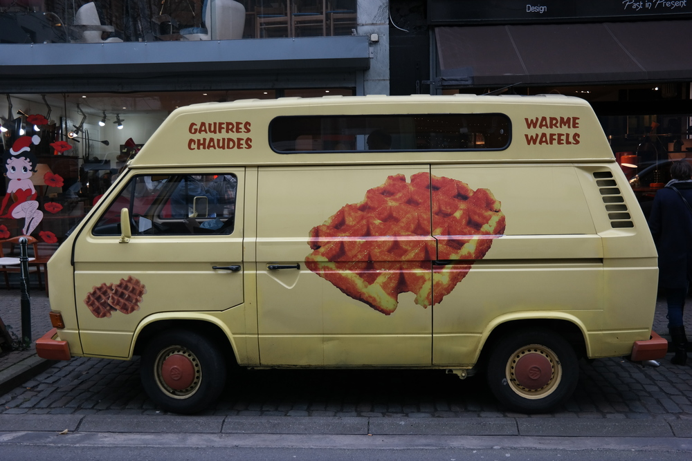 And just when you're worried you might not be able to find a waffle stand, there it is: the waffle BUS. Who needs the ice cream truck when you can have THIS?!