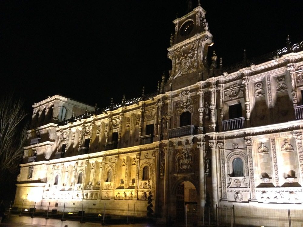 The Hostal de San Marcos (our hotel) at night.