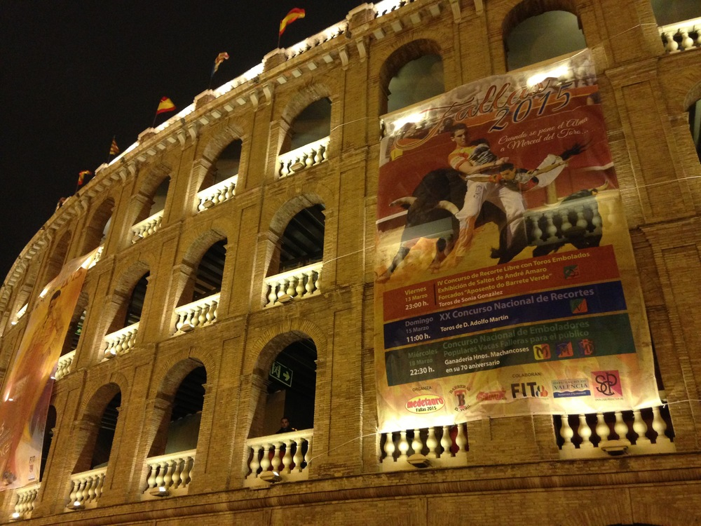 The city was decked out in lights and posters: FALLAS!