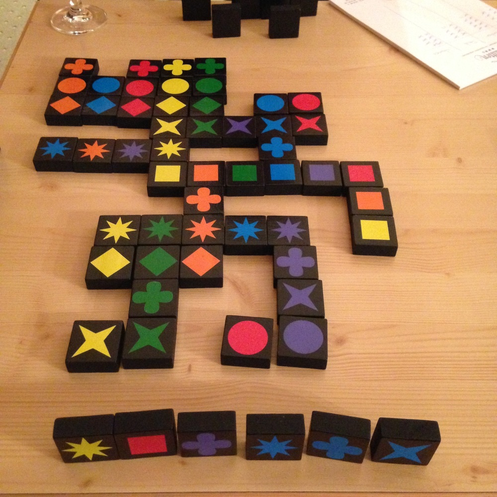 We enjoyed playing Quirkle at night. Guys, my game-hating self is changing and I don't know what to do about this! Except to WIN.