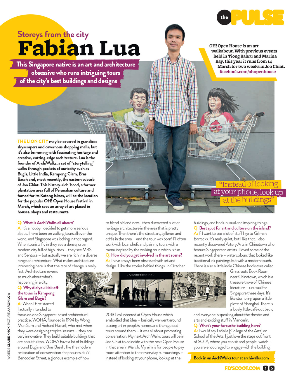 Interview on Scoot Magazine, the inflight magazine of Scoot airline.