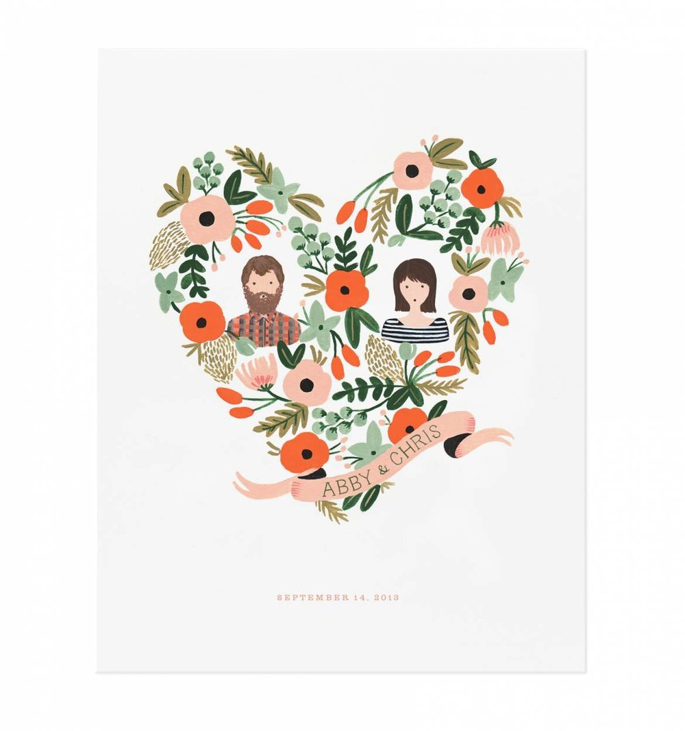 Custom Floral Heart Rifle Paper Co