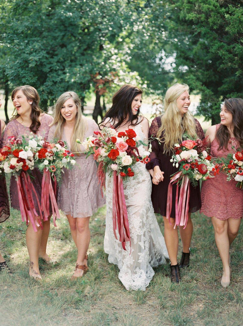 Berry Bridesmaid Dresses, Thistle Springs Ranch Wedding