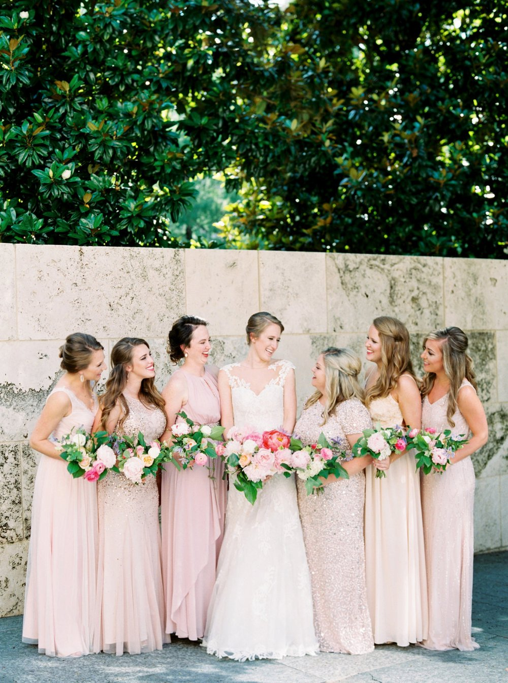 Nasher Sculpture Center Wedding, Mismatched Bridesmaid Dresses, Pink Bridesmaid Dresses, Sequin Bridesmaid Dresses,