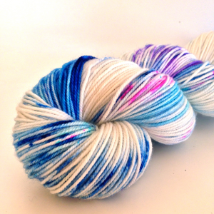 Jelly Bean (in Frolic Sport)- specks of cobalt, sapphire, turquoise, purple, and hot pink against a cream background