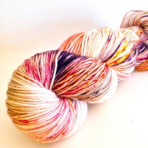Iris in the Fog (in Frolic Sport)- specks of purple, wine red, golden yellow, and chesnut against a cream background