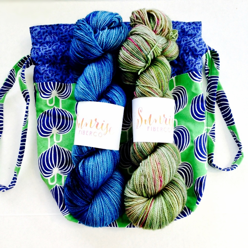 """Handmade knitting bag + Twisted MCN Sock in """"Lake of the Woods"""" and """"Grasslands"""""""