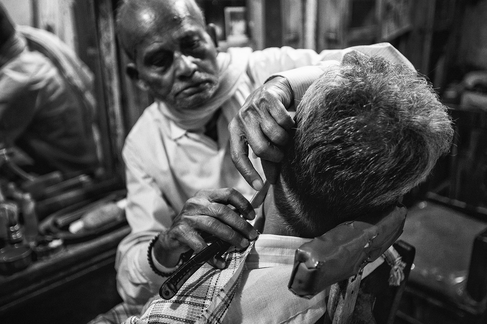 """Barber Shop, Varanasi, India""    photo copyright : Russell Shakespeare 2015"
