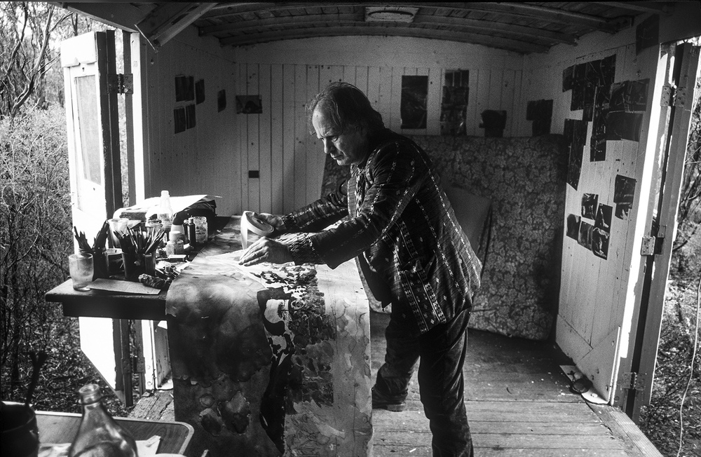 """John Wolseley in his train carriage studio, Whipstick Forest, Bendigo""      © Russell Shakespeare"