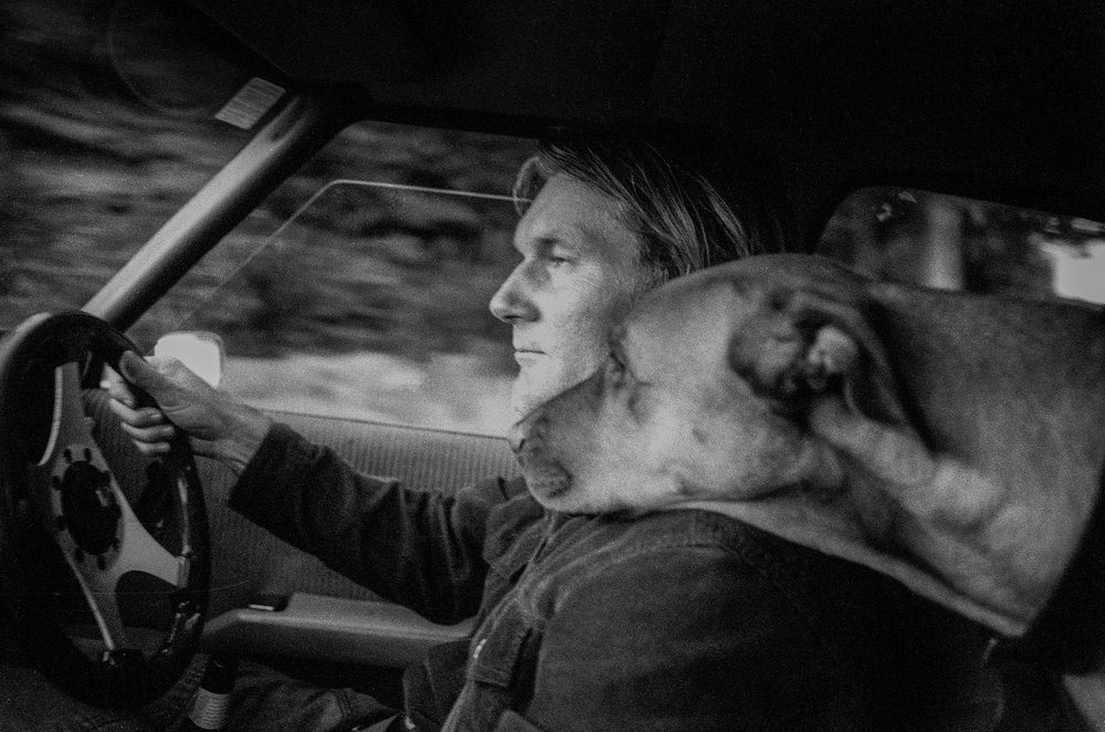 """The Artist Jim Mitchell and Salty, on the drive home"" ©Russell Shakespeare"
